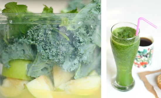 I call it the Green Machine. Just cause. Here's the recipe, which yields about 12 ounces:    1 granny smith apple or one pear  2 cups of kale (pull leaves from two stalks to make two cups) or 2 cups spinach  1 lime (juiced or remove the seeds and add the flesh, too) or one lemon  1 small handful of cilantro (pull the leaves from the stalks)  1/2 cup orange juice  2 teaspoons ginger