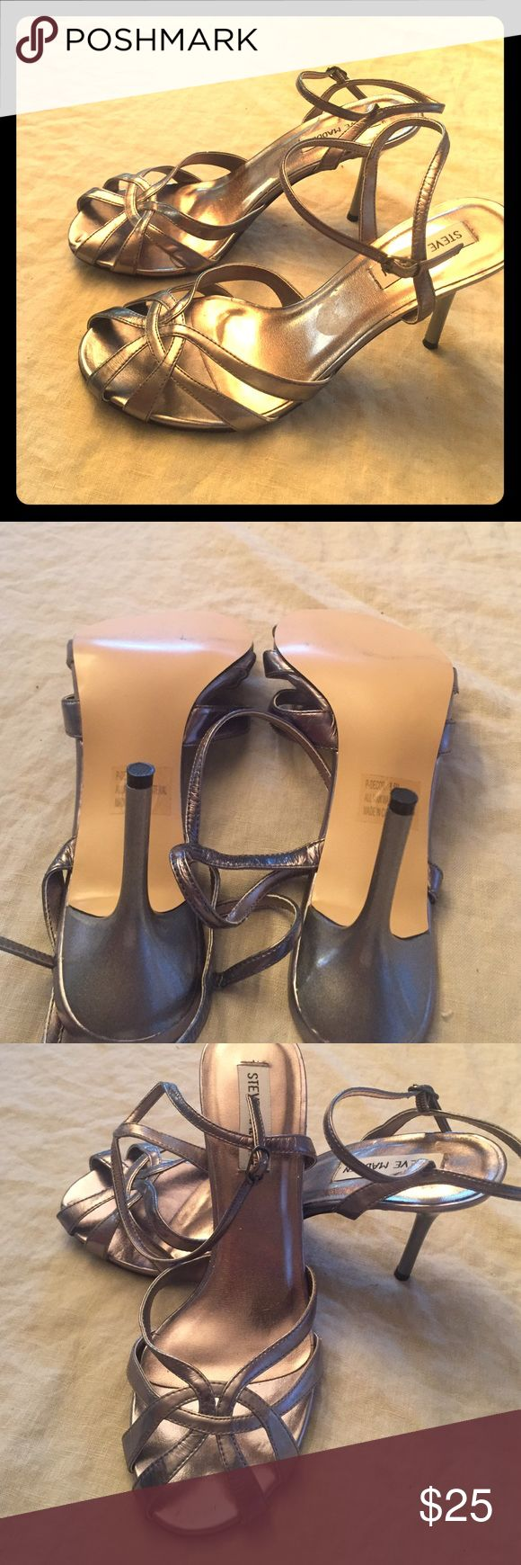 "Steve Madden pewter heels Beautiful retro looking caged toe, 3 1/2"" heel. Worn once! Steve Madden Shoes Heels"