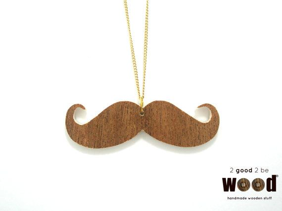 Handmade & Handpainted Wooden Mustache Fashion Necklace