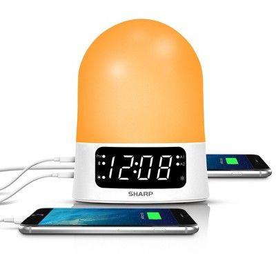 Sunrise Simulator Alarm Clock with Blue Tooth Or USB ports White - Sharp : Target