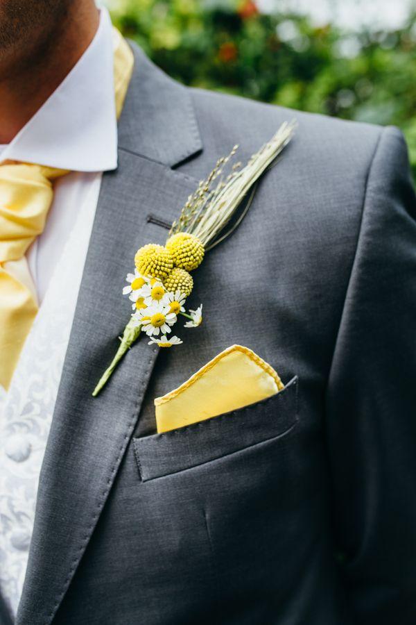 we ❤ this!  moncheribridals.com  #groomsuits #boutonnieres #grayandyellowwedding