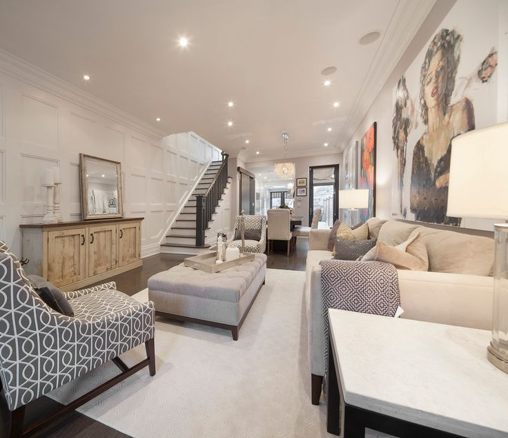 Transitional Living Room With Crown & Wall Molding