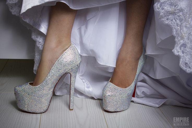 Detail shot of wedding shoes