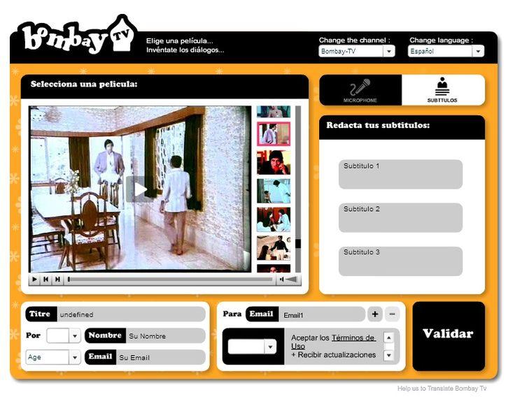 http://www.grapheine.com/bombaytv/ bombay TV: crear películas subtituladas, como ésta: http://www.grapheine.com/bombaytv/movie-es-f560c26e3edb49e21007be1b72bef8c4.html