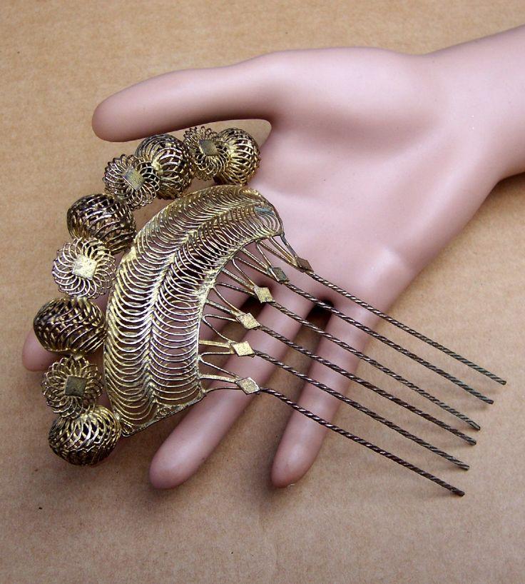 Vintage Gilt Metal Filigree Hair Comb by DragonsLairVintage