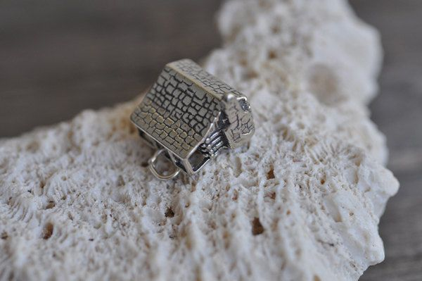 LOG CABIN Wood Home House Camping 3D .925 Sterling Silver Charm Made in USA by Pearlwearbeads on Etsy