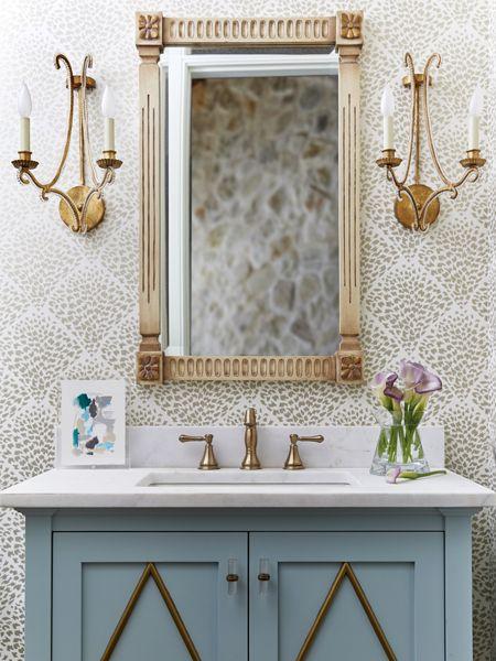 Oslo Sconce in 2020 | Bathroom wallpaper, Powder room ...