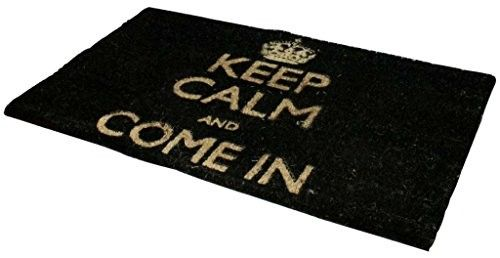 JVL Keep Calm And Come In Home Black Door Coir Rug Mat With PVC Backing 40cm X 70cm