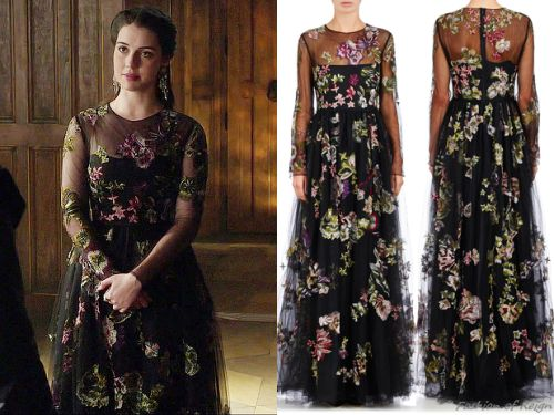 "the CW's Reign Fashion & Style - In the episode 3x11 (""Succession"") Queen Mary wears this divine Valentino Embroidered Tulle Gown."
