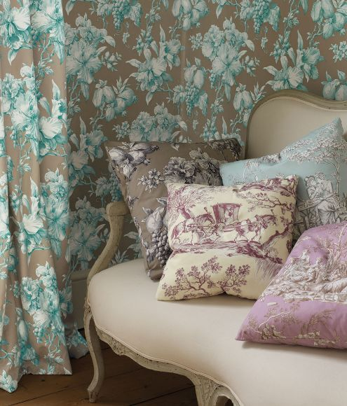 toile and so many wonderful colors: Curtains, Warm Colors, Pattern, Toile, Toile Fabrics, Cushions, Manuel Canova, Aqua Wallpapers, Pink Bathroom