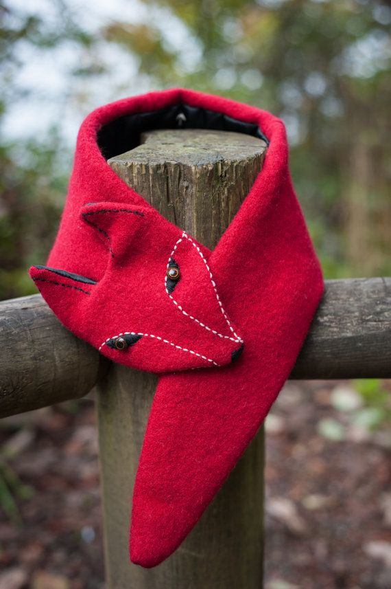 Hand embroidered faux fox scarf. by ComfyAndCaffeinated on Etsy, $58.00