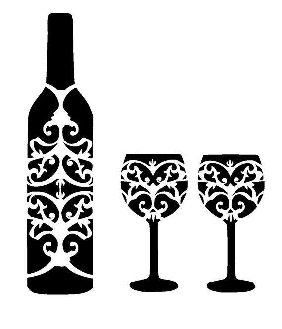 12/12 wine bottle and glass's stencil. by LoveStencil on Etsy