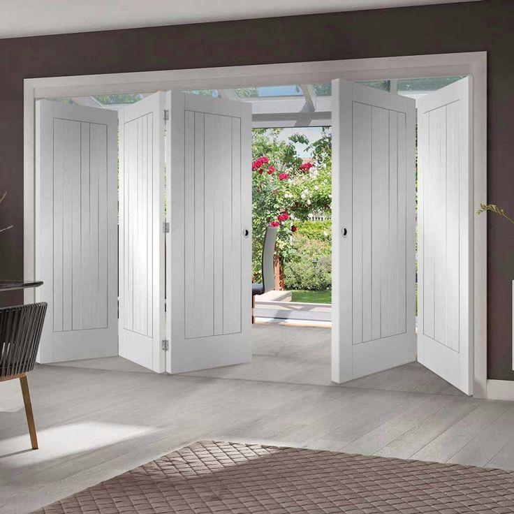 Thrufold Suffolk Flush 3+2 Folding Door - White Primed - Lifestyle Image - #livingroom #home #doors