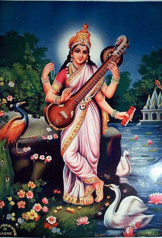 Saraswati Puja, 1/27/12. Saraswati is the goddess of art and knowledge. x
