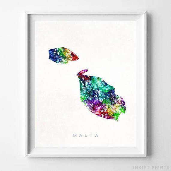 Malta Map Print Valletta Print Malta Poster Living Room Etsy Map Wall Art Watercolor Map Artwork Gifts