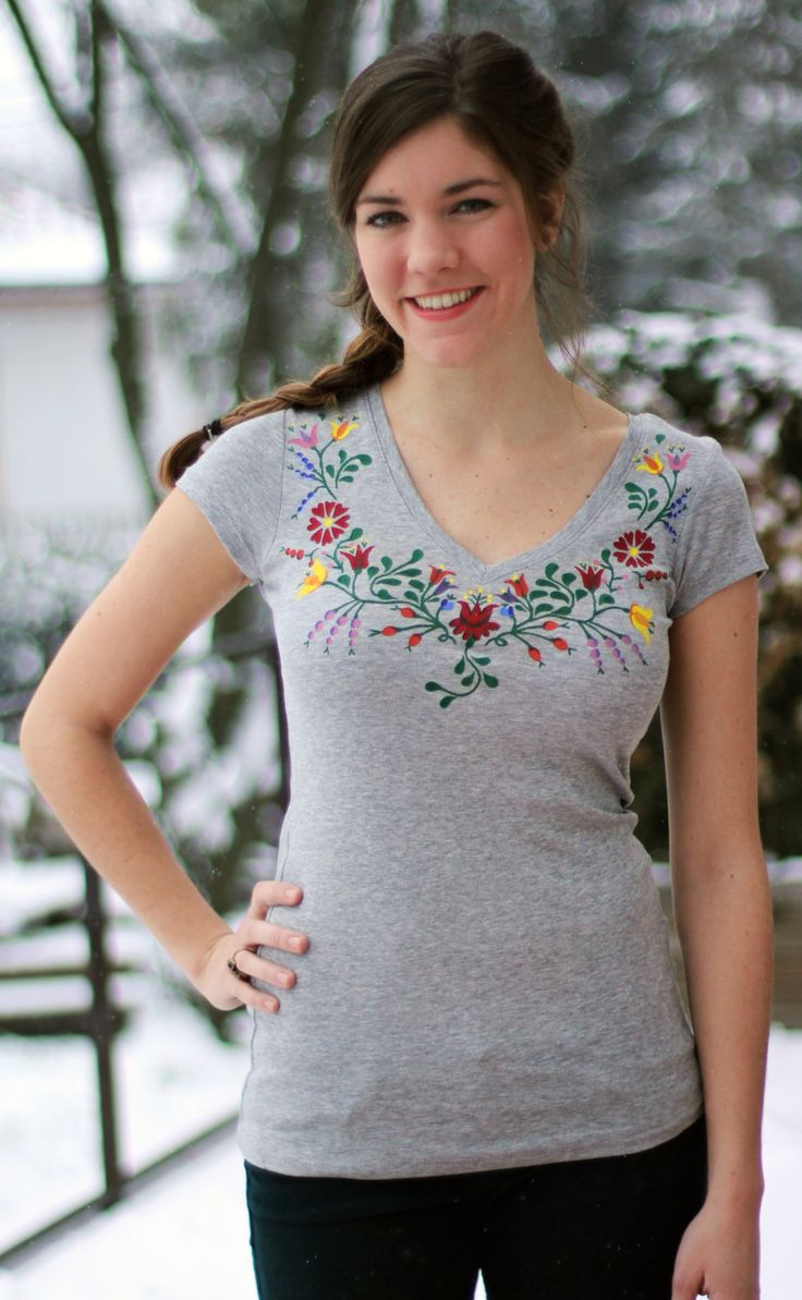 HAND PAINTED hungarian FOLK art TShirt with colorful by Lilkosart, Ft8,000.00