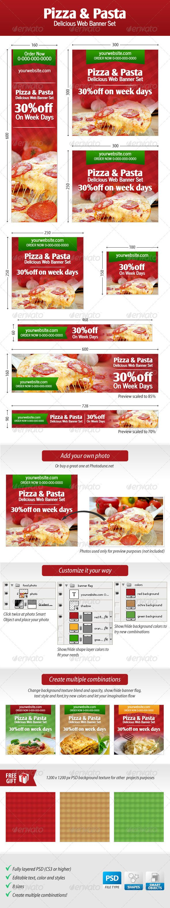 Pizza and Pasta Web Banner Set Template PSD | Buy and Download: http://graphicriver.net/item/pizza-and-pasta-web-banner-set/4529248?WT.ac=category_thumb&WT.z_author=stoat&ref=ksioks