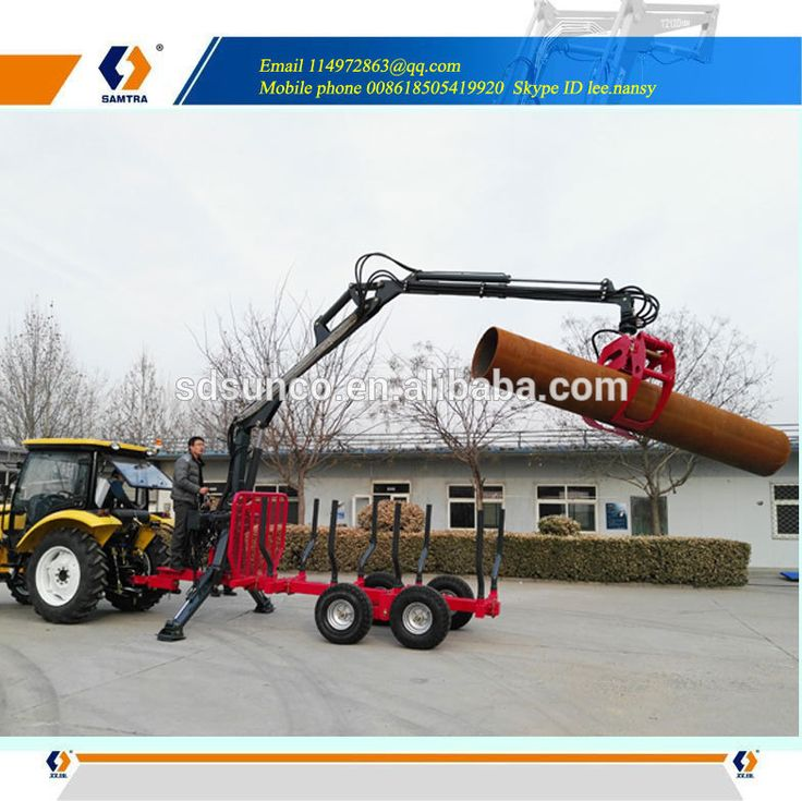 log loader with trailer, tractor log grapple,Forestry Trailer with crane(Grapple)