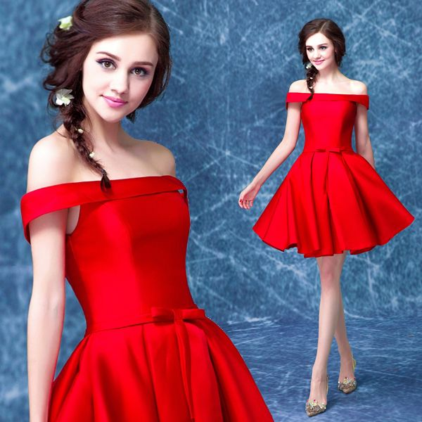 2017 new arrival stock maternity plus size bridal gown pregnant evening dress short satin red simple slit neckline sexy 7891