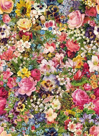 Mit dieser Designtapete im klassischen Stil, holen Sie sich einen großen, wunderschönen Blumenstrauß nach Hause. Die vielen verschiedenen Blumen werden niemals welken und Sie immer erfreuen. #wallpaper