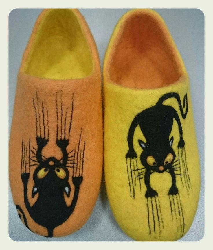 Купить Домашние валяные тапочки ручной работы Царапыши - желтый, тапочки, Тапочки ручной работы