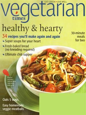 magazine Vegetarian Times 2 years / 18 issues  Each issue provides enticing vegetarian recipes, food photography, and editorial perspectives on health, nutrition and fitness. Vegetarian Times also includes profiles of dynamic people involved with vegetarian cooking and eating and authoritative product news and reviews. http://www.tripleclicks.com/14818999/detail.php?item=5491