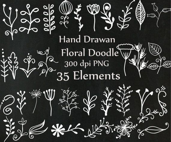 Chalkboard doodle flowers clipart: CHALK FLOWERS Hand Drawn Flower clipart Chalk foliage Chalk Floral clipart wedding clipart Diy invites  You will receive: - 35 individual PNG images - PNG format with a transparent background - High resolution (300dpi)  Use for Scrapbooking, Cardmaking, Handmade Stationery, Invitations, Place Cards, Tags, Wrapping Paper, Books and Journals Hardcovers, Jewelry, Cards, Decoupage, Decorated Furniture, Packaging, Crafts for Weddings, Birthdays, Parties and any…