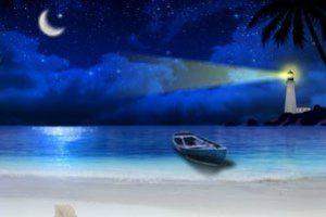 Romantyczny widok nadmorskiej plaży oświetlonej latarnią morską. Spadają też gwiazdy -może spełnią twoje życzenie? :) Kliknij w miniaturę i przejdź na stronę z darmowym pobraniem tego fantastycznego wygaszacza ekranu! / Free screensaver #wygaszacz #wygaszacze #screensaver #screensavers #freebie #gratis
