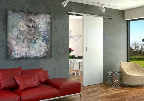 Volbou posuvných dveří po stěně ušetříte více místa. Vyžadují však volný prostor na stěně vedle dveří, kam se budou posouvat. Jednokřídlý model Trix Zero. Cena od 7560 Kč včetně DPH; J.A.P