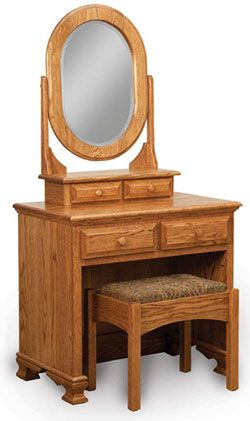 Heritage Dressing Table with Bench in Oak