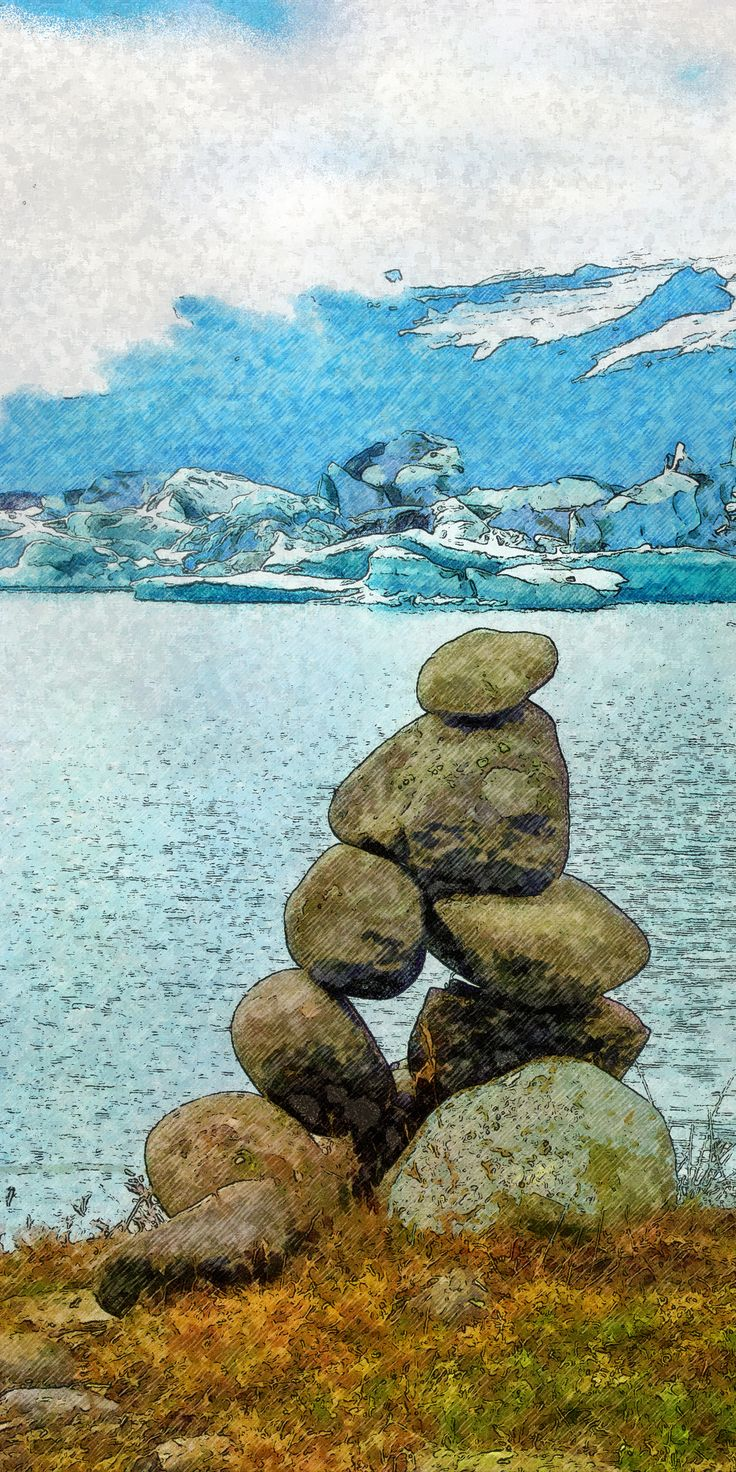 Steenman bij het ijsmeer Jökulsárlón - Cairn at the icelake Jökulsárlón - Steinmann an der Eissee Jökulsárlón - Homme de pierre au lac de glace, Islande, Jökulsárlón. Digtaal schilderij/digital painting.digitales Gemälde /peinture digitale