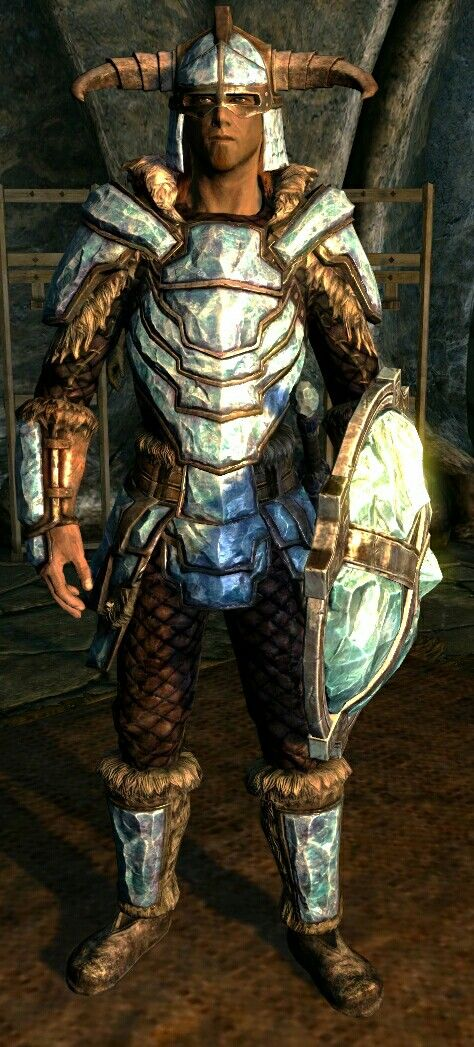 Stalhrim Armor (Dragonborn DLC) BASE ARMOR:102 Weight:59 BASE VALUE:4235 Class: Heavy Upgrade Material: Stalhrim PERK: Ebony Smithing