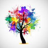 Árbol abstracto de multi color pintura splat Ilustración De Stock