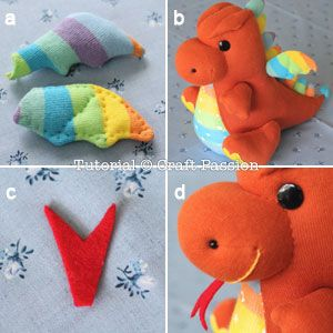 How To Sew Sock Dragon http://www.craftpassion.com/2014/04/how-to-sew-sock-dragon.html?pid=1657#picgallery