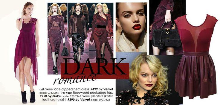 Wine dipped hem dress by VELVET, R499. Wine peekaboo top, R250 by BLAKE and leather-look skater skirt, R390 by VELVET.  https://www.facebook.com/photo.php?fbid=714056768616417&set=a.710707918951302.1073741836.272223432799755&type=1&theater