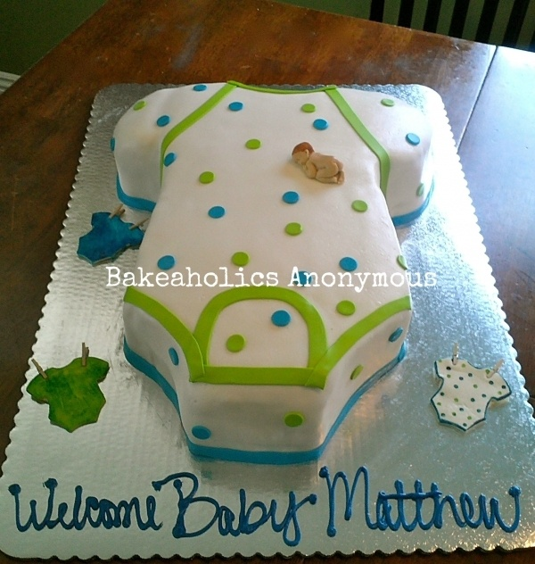 Baby Onesie Cake...I don't really care for the naked small baby on the cake, but the idea is cute