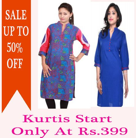 SALE UPTO 50% OFF ON DESIGNER KURTIS START ONLY ATA RS.399 https://www.crazora.com/kurtis.html