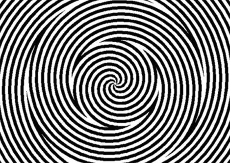 Pour que cette illusion fonctionne, il faut regarder attentivement le point au centre de l'image pendant une vingtaine de secondes puis regarder un mur ou un visage. Il devrait alors se déformer. L'œil tente en faite de s'habituer au mouvement ce qui cause la déformation lorsque l'on regarde une surface immobile.