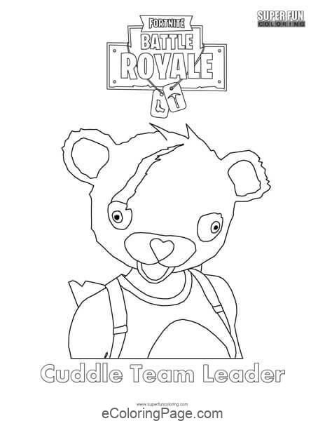 Fortnite Cuddle Team Leader Printable Coloring Page Free