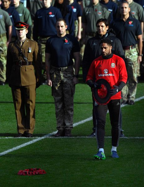 Wales captain Ashley Williams lays a wreath to mark Remembrance Day before Wales training prior to the FIFA 2018 World Cp qualifier against Serbia at Cardiff City Stadium on November 11, 2016 in Cardiff, Wales.