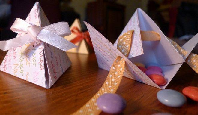 DIY mariage : créer des boîtes à dragées en forme de pyramides