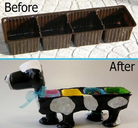 A coockeis dissposable container turns into a cute puppy desk organizer, with some paper mache.