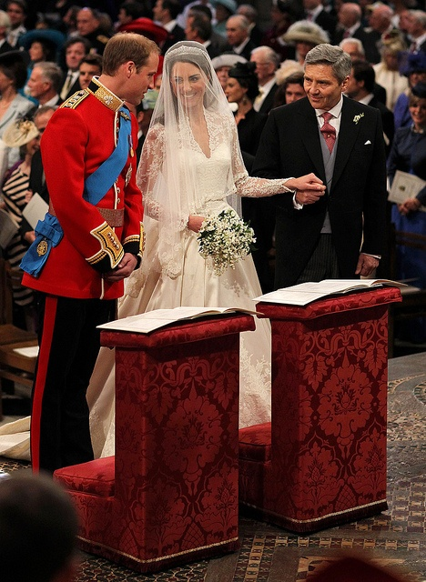 April 29, 2011 ~ Prince William, Kate Middleton and Michael Middleton (Kate's Father) at the altar in Westminster Abbey ...