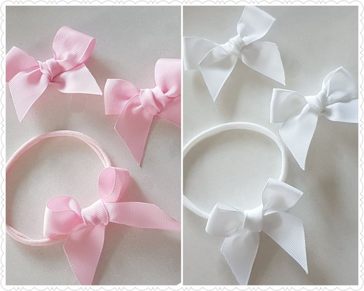 Grosgrain bow headband - pink bow headband - white bow headband - pink bow clip - white bow clip - - nylon headband - cute baby headband by BeePiki on Etsy