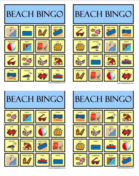 Beach Bingo- compare and contrast, have conversation about summertime activities    Need: gluestick, scissors, cardstock to glue boards.  http://livespeaklove.com/2012/05/31/summer-speech-language-activities/