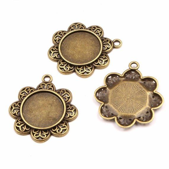 10pcs 20mm Inner Size Antique Silver And Bronze Tower Style Cabochon Base Setting Charms Pendant