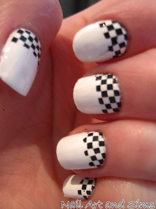 nails #nails #manicure love the race car checkers