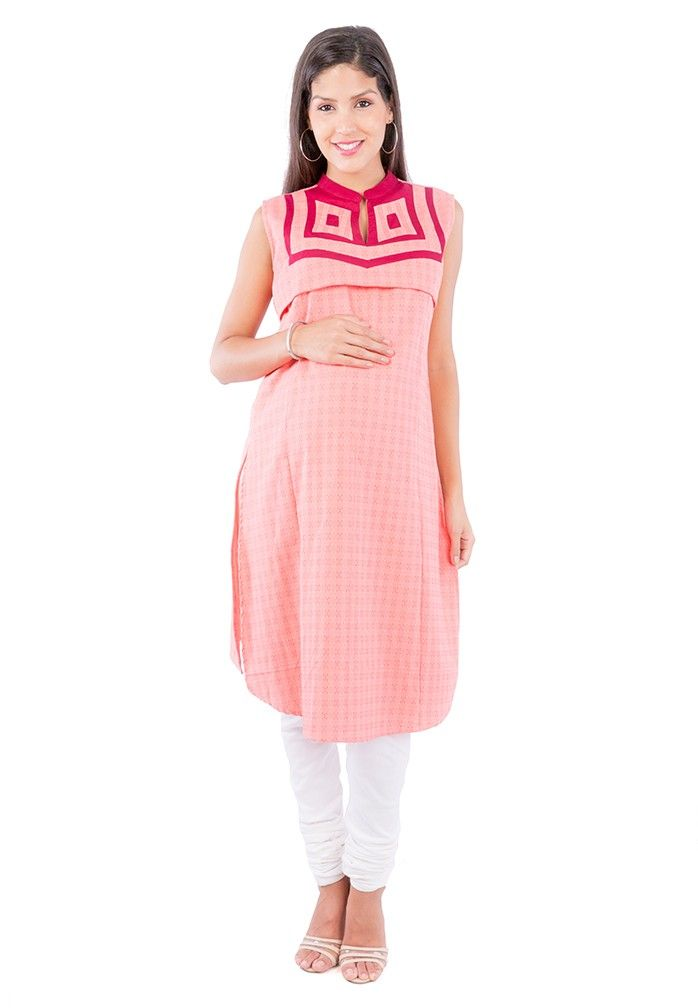 The Rouge Pink Maternity Kameez with patch work looks trendy. It has horizontal nursing option and can be worn throughout pregnancy & post pregnancy.  #MaternityWear #MorphMaternity
