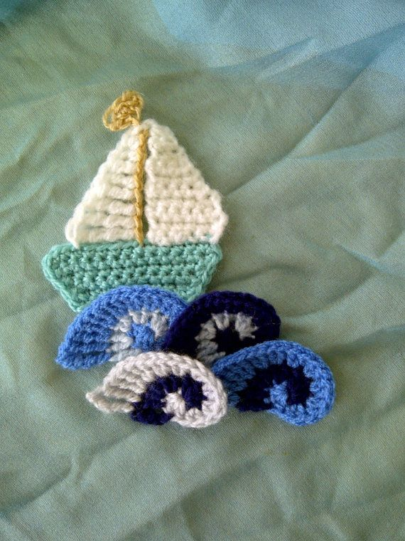 Crocheted boat and wave appliques by by BinkleBlossoms on Etsy, £2.25