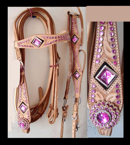 Western Bridle Horse Tack Pink Crystal Headstall 3pc Set show circle Y...wow!